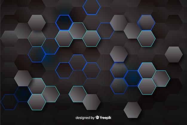 Sfondo esagonale tecnologico nei colori scuri
