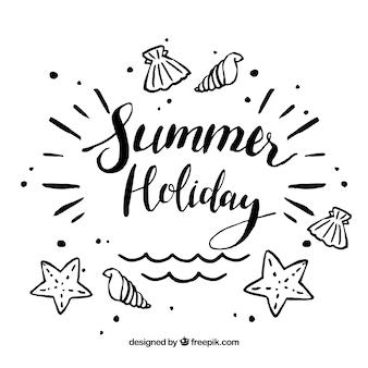 Sfondo estate con elementi di spiaggia