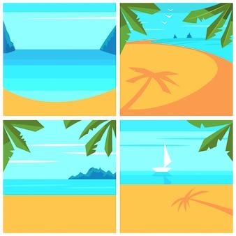 Sfondo estate con spiaggia, palme e mare. set di paesaggi di cartone animato.