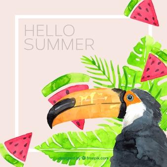 Sfondo estate con tucano e piante in stile acquerello
