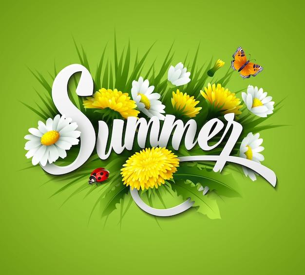 Sfondo estate fresca con erba, denti di leone e margherite