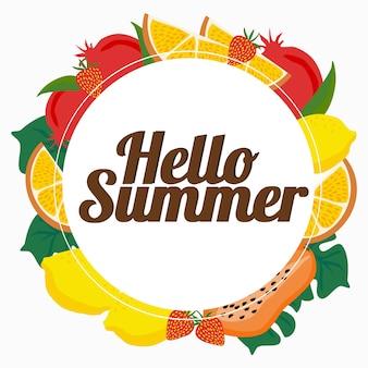 Sfondo estate fresca con frutti tropicali e cornice rotonda per il testo