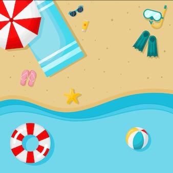 Sfondo estivo. vista dall'alto spiaggia. illustrazione vettoriale.