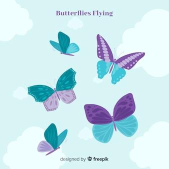 Sfondo farfalla piatta