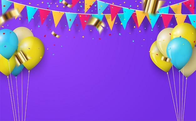 Sfondo festa con palloncini e bandiere di compleanno sul viola