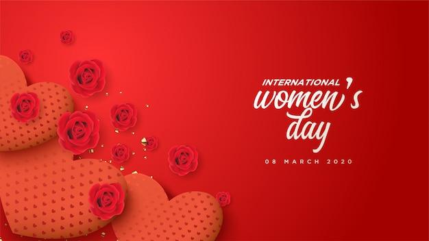 Sfondo festa della donna con illustrazione numero 8 e rami e foglie di fiori.