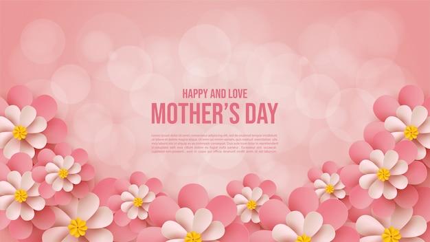 Sfondo festa della mamma con scritte rosa su uno sfondo rosa.