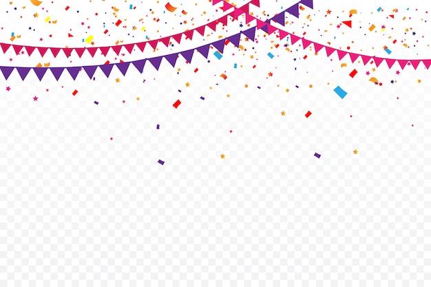 Sfondo festa di compleanno con set di ghirlande di bandiera.