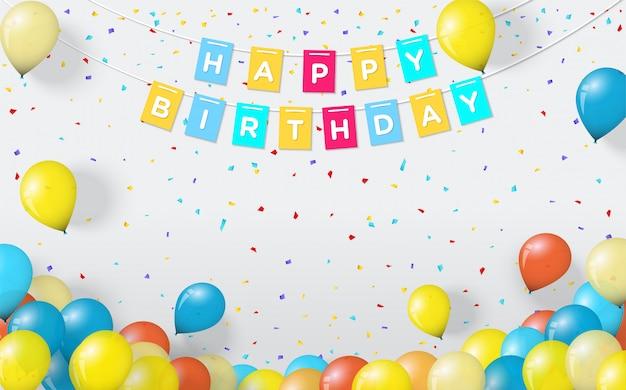 Sfondo festa per compleanni, con illustrazioni a palloncino e parole di buon compleanno sul muro.