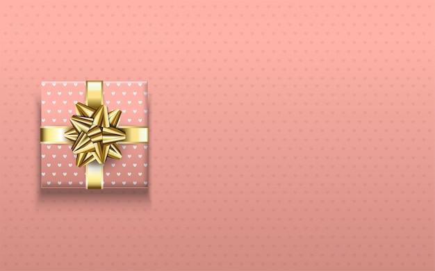 Sfondo festa per compleanni, con illustrazioni di scatole regalo rosa e nastri d'oro.