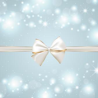 Sfondo festivo con fiocco d'argento e dorato