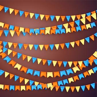 Sfondo festivo con ghirlande di bandiere