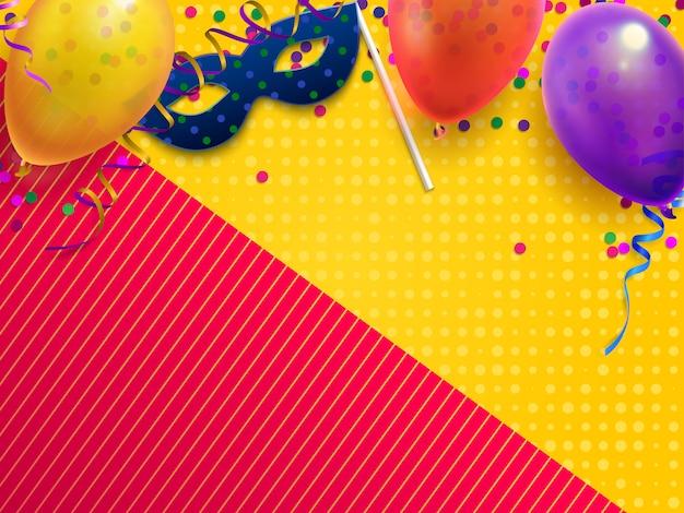 Sfondo festivo di travestimento di carnevale, festa di compleanno per bambini con coriandoli, maschera di carnevale e palloncino