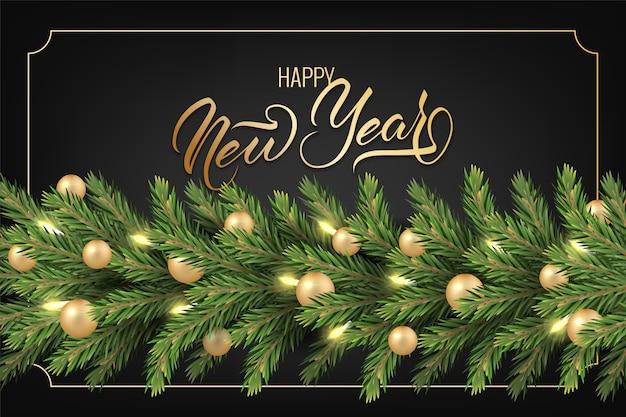 Sfondo festivo per il biglietto di auguri di capodanno con rami di un albero di pino ghirlanda realistico, decorato con palle di natale