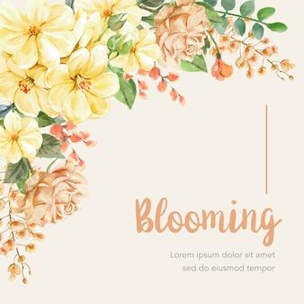 Sfondo floreale con cornice