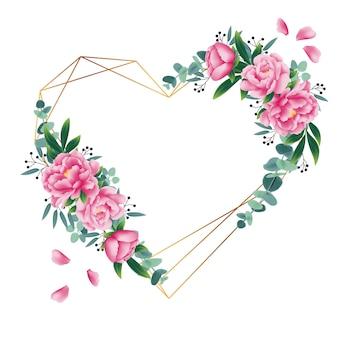 Sfondo floreale con fiore di peonia e foglia di eucalipto