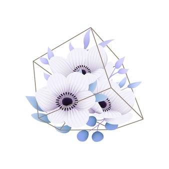 Sfondo floreale con fiori di anemone nel terrario