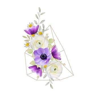 Sfondo floreale con fiori di ranuncolo e anemone nel terrario