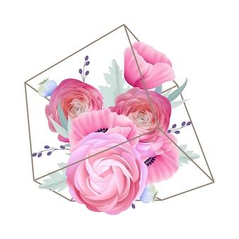 Sfondo floreale con fiori di ranuncolo e papavero nel terrario