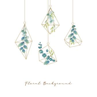 Sfondo floreale con foglie di eucalipto acquerello nel terrario