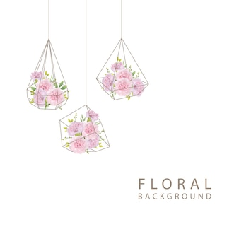 Sfondo floreale con garofani rosa nel terrario