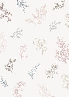 Sfondo floreale con piante di doodle