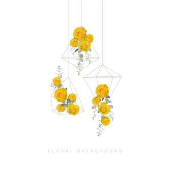 Sfondo floreale con rose gialle in terrario