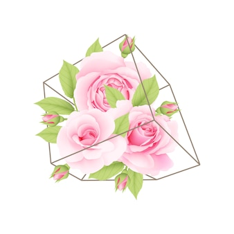 Sfondo floreale con rose rosa in terrario