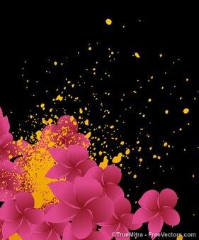 Sfondo floreale con schizzi di vernice gialla
