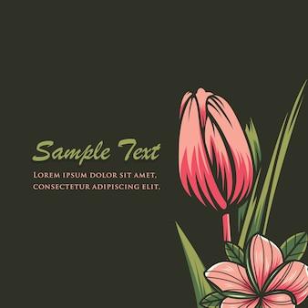 Sfondo floreale decorativo, gretting carta con fiori di tulipano