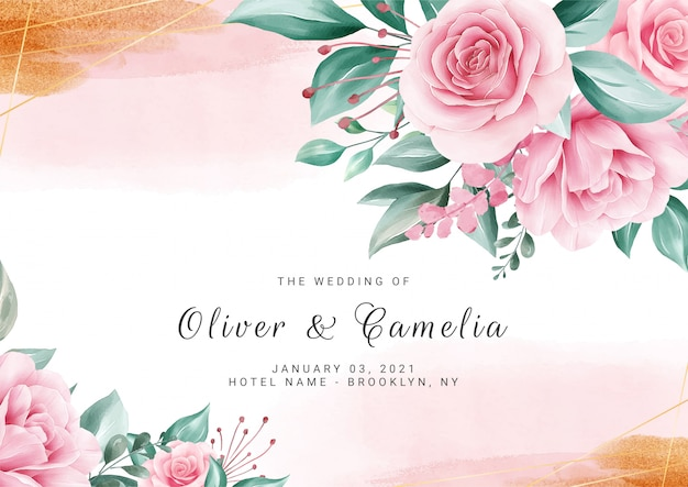 Sfondo floreale dell'acquerello per modello di carta di invito di nozze con fiori e spruzzi d'oro
