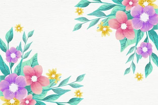 Sfondo floreale di disegno ad acquerello in colori pastello