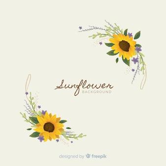 Sfondo floreale disegnato a mano con testo