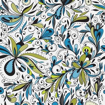 Sfondo floreale doodle senza soluzione di continuità