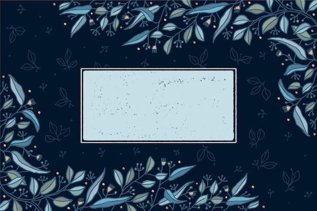 Sfondo floreale invernale con distintivo vuoto