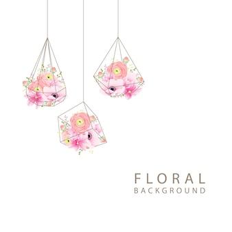 Sfondo floreale ranuncolo magnolia e fiori di anemone