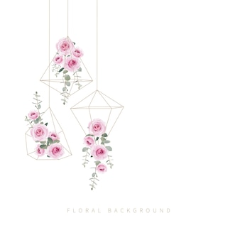 Sfondo floreale rose e foglie di eucalipto