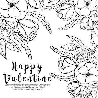 Sfondo floreale san valentino in bianco e nero