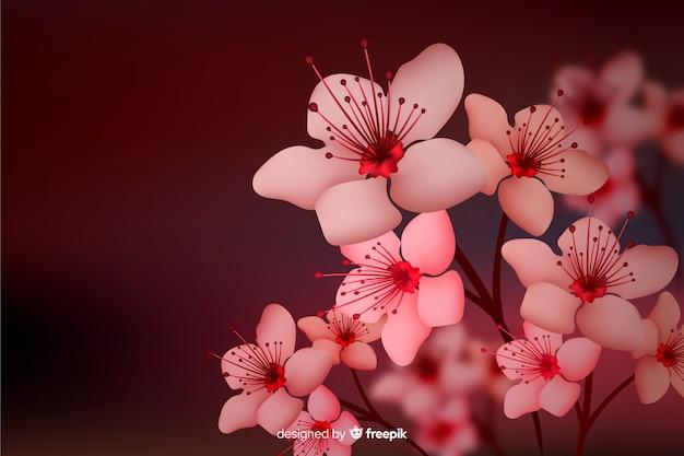 Sfondo floreale scuro di disegno realistico