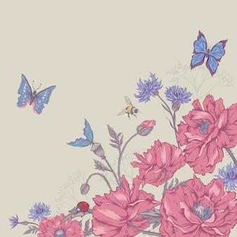 Sfondo floreale vintage con rose e fiori selvatici