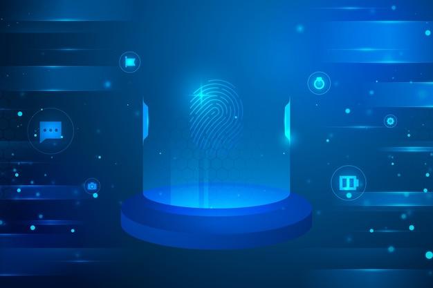 Sfondo futuristico con icone circolari cyber