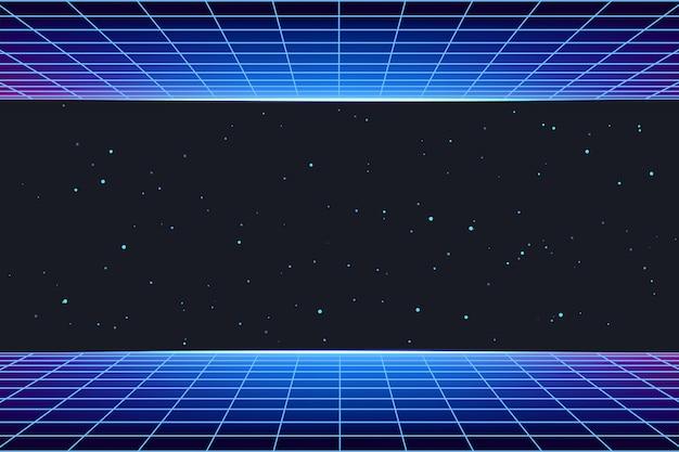 Sfondo futuristico galassia con griglia laser al neon