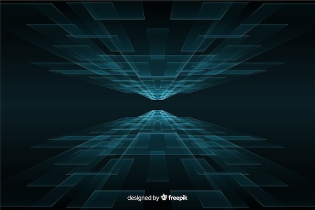 Sfondo futuristico orizzonte con luci blu