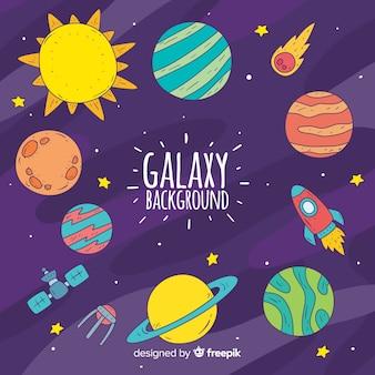 Sfondo galassia con pianeti
