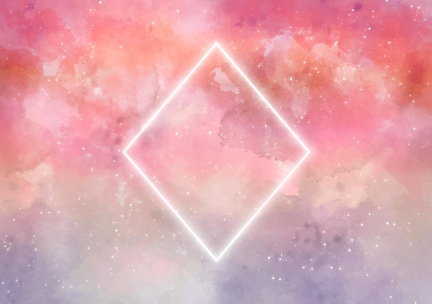 Sfondo galassia con rombo in neon
