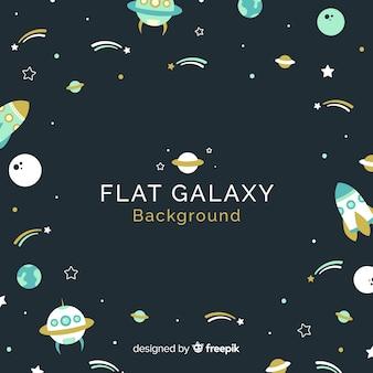 Sfondo galassia con vari elementi