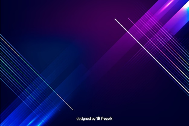 Sfondo geometrico di tecnologia di luci al neon