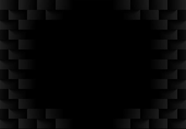 Sfondo geometrico quadrato nero goffrato.