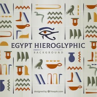 Sfondo geroglifici egiziani con design piatto
