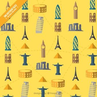 Sfondo giallo con monumenti di design piatto
